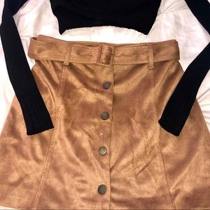 Forever 21 Skirts - Suede button skirt